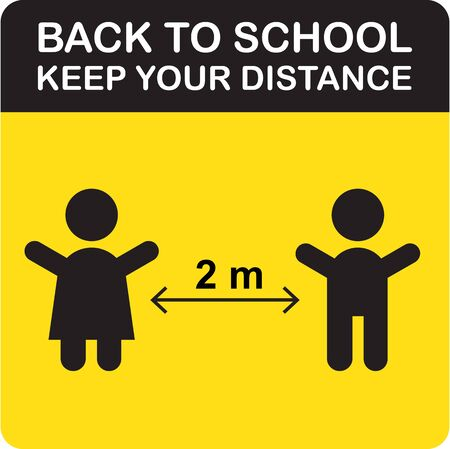 Back to school social distancing sign board prevention of Covid-19 vector for print, banner, poster