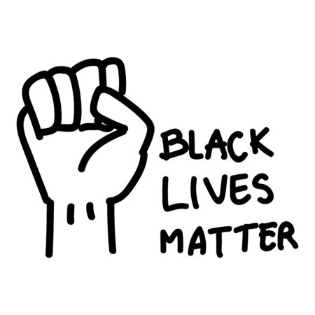 Black lives matter ypography and hand sign drawing. Protest banner, poster about human right of black people in US. America. Vector Иллюстрация