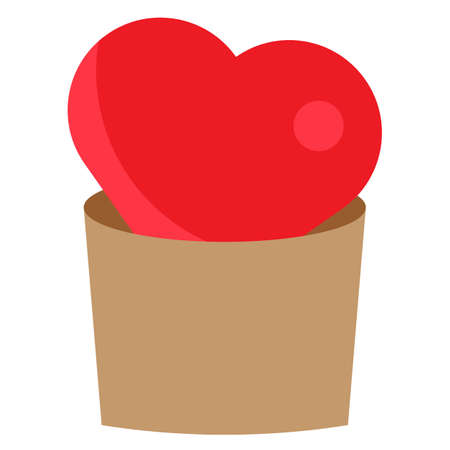 Growing heart shape in brown vase. Love concept flat drawing for valentines day. Vector  .