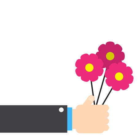 Hand holding flowers. Love concept flat drawing for valentines day.
