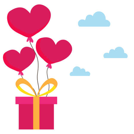 Heart balloons on gift box. Love and valentines day concept illustration. Иллюстрация