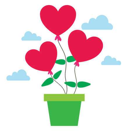 Planting hearts. Love and valentines day concept illustration. Иллюстрация