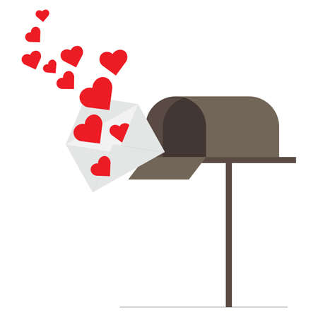 Love letter at mailbox. Love and valentines day concept flat illustration.