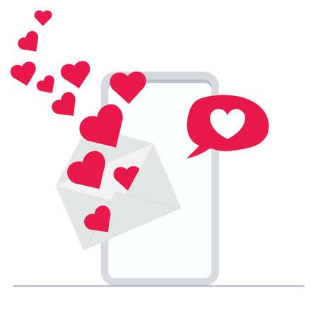 mail pop-up on mobile with heart message. Love and valentines day concept flat illustration. Иллюстрация