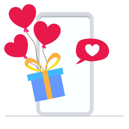 Gift box with hearts balloon pop-up from mobile phone with love message. Love and valentines day concept flat illustration.