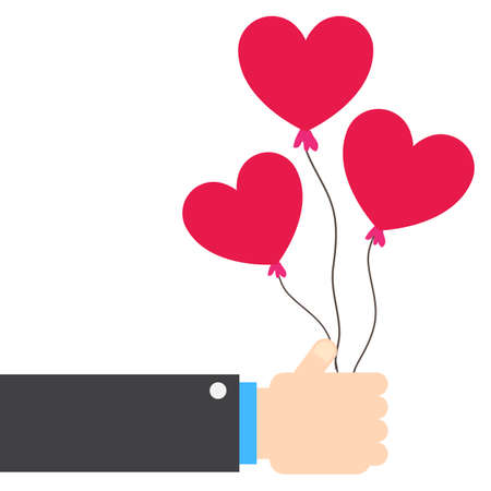 Hand giving heart balloons. Love and valentines day concept flat illustration.