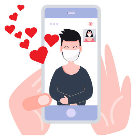 Online call during covid-19 pandemic. Love and valentines day concept flat illustration.