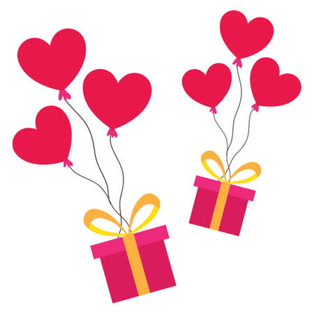 Gift box with heart balloons. Love and valentines day concept flat illustration. Иллюстрация