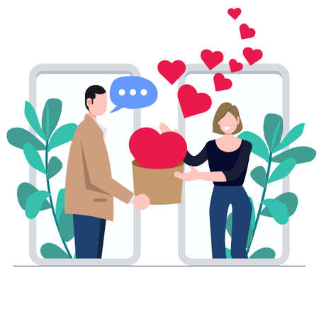 Man giving present for woman. Online call, love message. Love and valentines day concept flat illustration. Иллюстрация