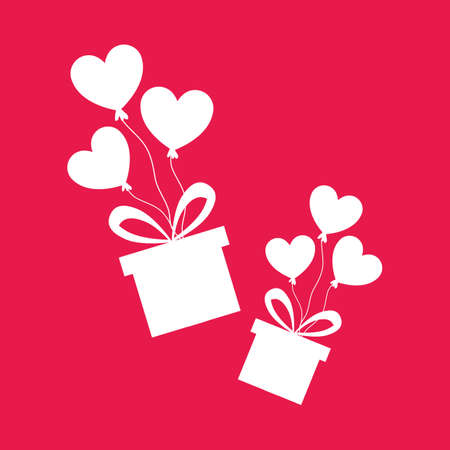 gift boxes flying with heart shape balloons. Love and valentines day concept flat illustration. Иллюстрация
