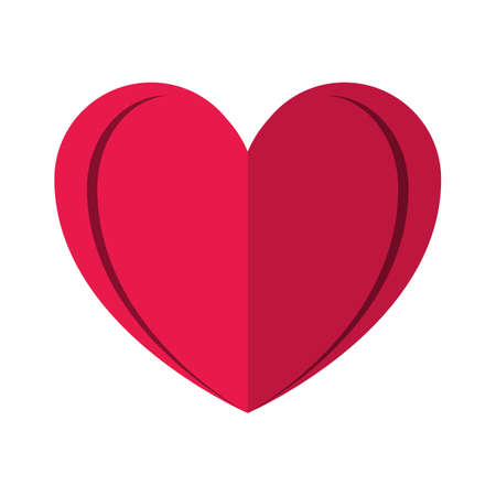 Red heart shape. Love and valentines day concept flat illustration.