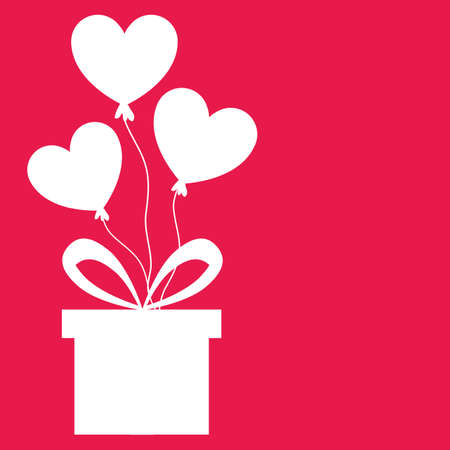 Heart balloons and gift box. Love and valentines day concept flat illustration. Иллюстрация