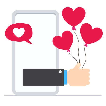 Hand pop-up from mobile. Online message showing Love and valentines day concept flat illustration. Иллюстрация