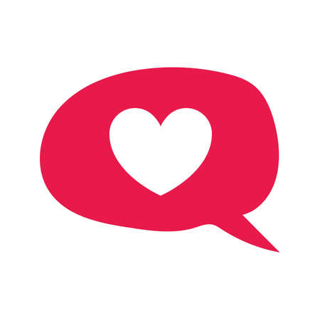hand drawing heart in message chat. Love and valentines day concept flat illustration.