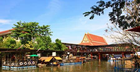 floating bridge: floating market thailand thai traditional Stock Photo