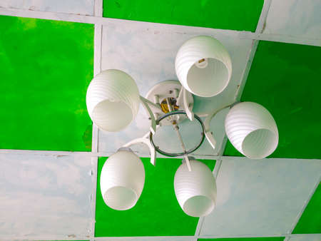 Attic ceiling lamp hanging green photo