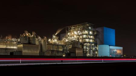 incinerator: Waste incinerator at night long exposure