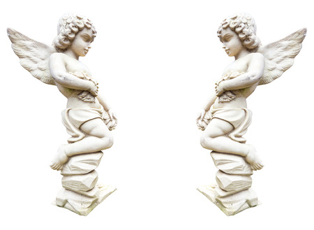 cherubs: Statue of two angels with flowers isolated on white