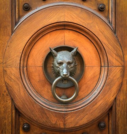 Doorknocker with head of wolf & Wolf Door Stock Photos. Royalty Free Wolf Door Images