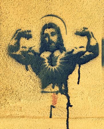 Stancil of a Body builder Jesus - 6 january 2017 - Verona Italy