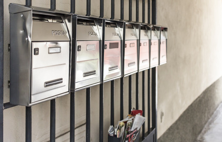selective focus on empty mailboxes Stock Photo
