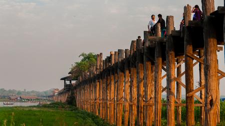 U Bein Bridge, Amarapura, Myanmar Burma. Longest wooden bridge in the world