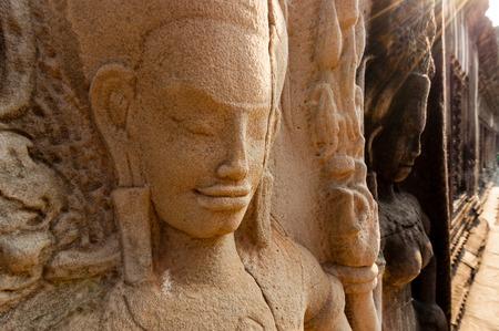 apsara: Detail of stone encarving Apsara at angkor wat