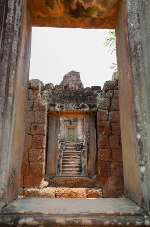 view through door: View through stone door at temple of Angkor Wat