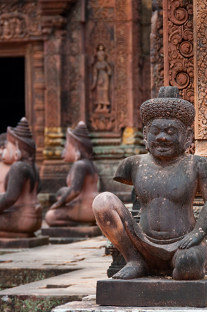 lintel: Stone sculputure sitting in front of temple Banteay Srei Angkor Wat