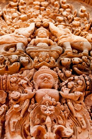 stone carvings: Detail of stone carvings at Banteay Srei Angkor Wat Stock Photo