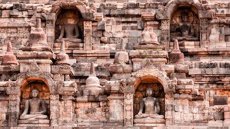 shul: Statues of Buddha in the humangous temple of Indonesia, Borobudur