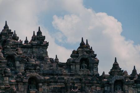 A Close up of the Brick Buddha temple Borobudur in Indonesia Stock Photo