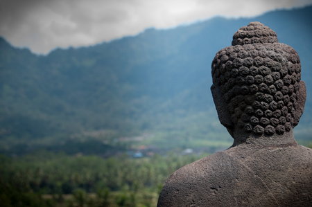 A sculpture facing the  view of the mountains Stock Photo
