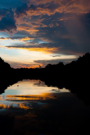breathtaking: Breathtaking sunset by the river in Kalimantan, Borneo of Indonesia