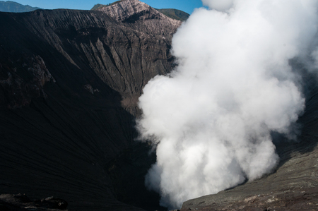 sulphur: volcano Bromo errupting thick smoke and sulphur in Indonesia