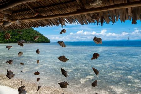 new guinea: Conchiglie che pendono dal tetto di bamb� di fronte al mare blu e spiaggia di sabbia bianca di Raja Ampat, Papua Nuova Guinea, Indonesia