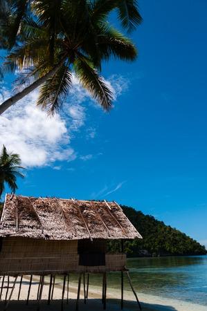 papua new guinea: Nipa Hut on stilts at a Beautiful beach Beach in front of the ocean, in Raja Ampat, Papua New Guinea, Indonesia