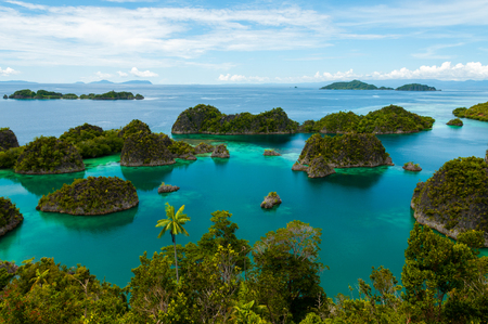 Many small green Islands of Fam Island in the sea of Raja Ampat, Papua New Guinea, Indonesia Stock Photo