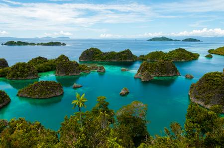 Many small green Islands of Fam Island in the sea of Raja Ampat, Papua New Guinea, Indonesia Stockfoto