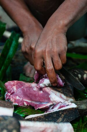 animal blood: Hands Cutting red pork meat into pieces with a knife in a village in Tana Toraja, Sulawesi, Indonesia