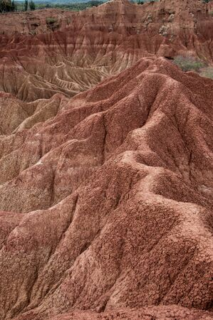 parch: Big red sandstone rock formation in hot dry desert of Tatacoa, Huila, Colombia