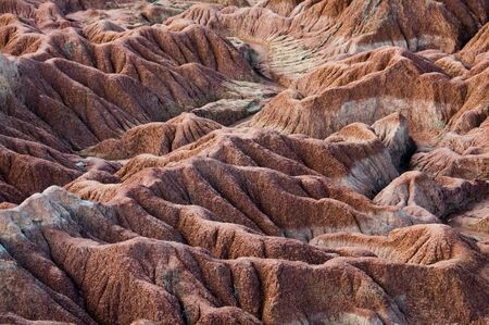 parch: Drought red orange sand stone rock formation in Tatacoa desert, Huila, Colombia