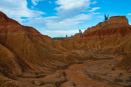 huila: Drought valley red sandstone rock formation in hot dry desert of Tatacoa, Huila, Colombia
