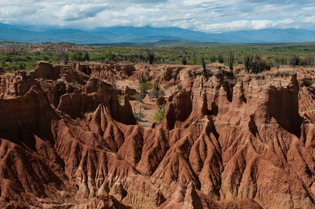 parch: Overview Red sand stone formation of hot dry Tatacoa desert in Huila, Colombia Stock Photo