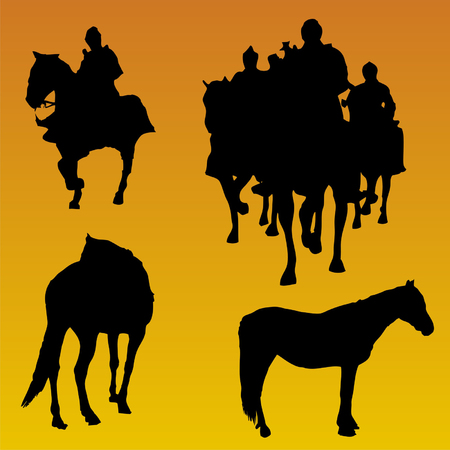 sillouethe of people with horse