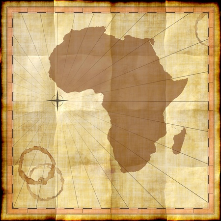Africa map on old paper with coffee stains photo