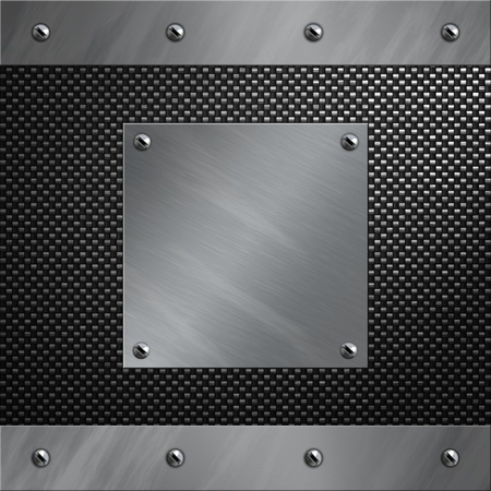 Brushed aluminum frame bolted to a carbon fiber background photo