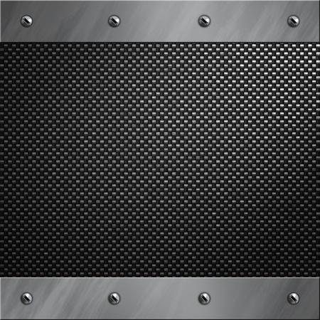 fibra de carbono: Marco de aluminio pulido atornillado a un fondo de fibra de carbono Foto de archivo