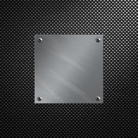 carbon steel: Brushed aluminum bolted to a carbon fiber background Stock Photo