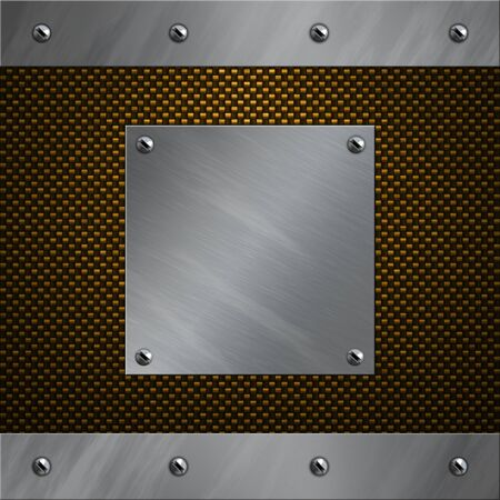 Brushed aluminum frame bolted to a carbon fiber background Stock Photo - 13322059